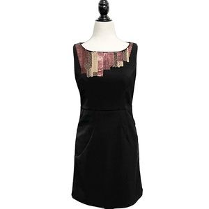 Theme Black Sleeveless Sequin Embroidered Pockets